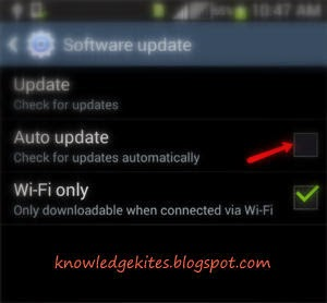 Uncheck auto updates to stop all update from android smart phone