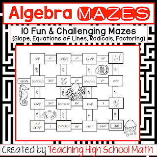 teaching high school math algebra one fun mazes and other activities. Black Bedroom Furniture Sets. Home Design Ideas