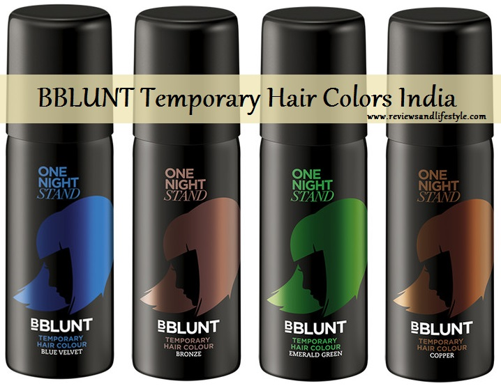 BBLUNT One Night Stand Temporary Hair Colour Spray India: Blue Velvet, Bronze, Emerald Green, Copper