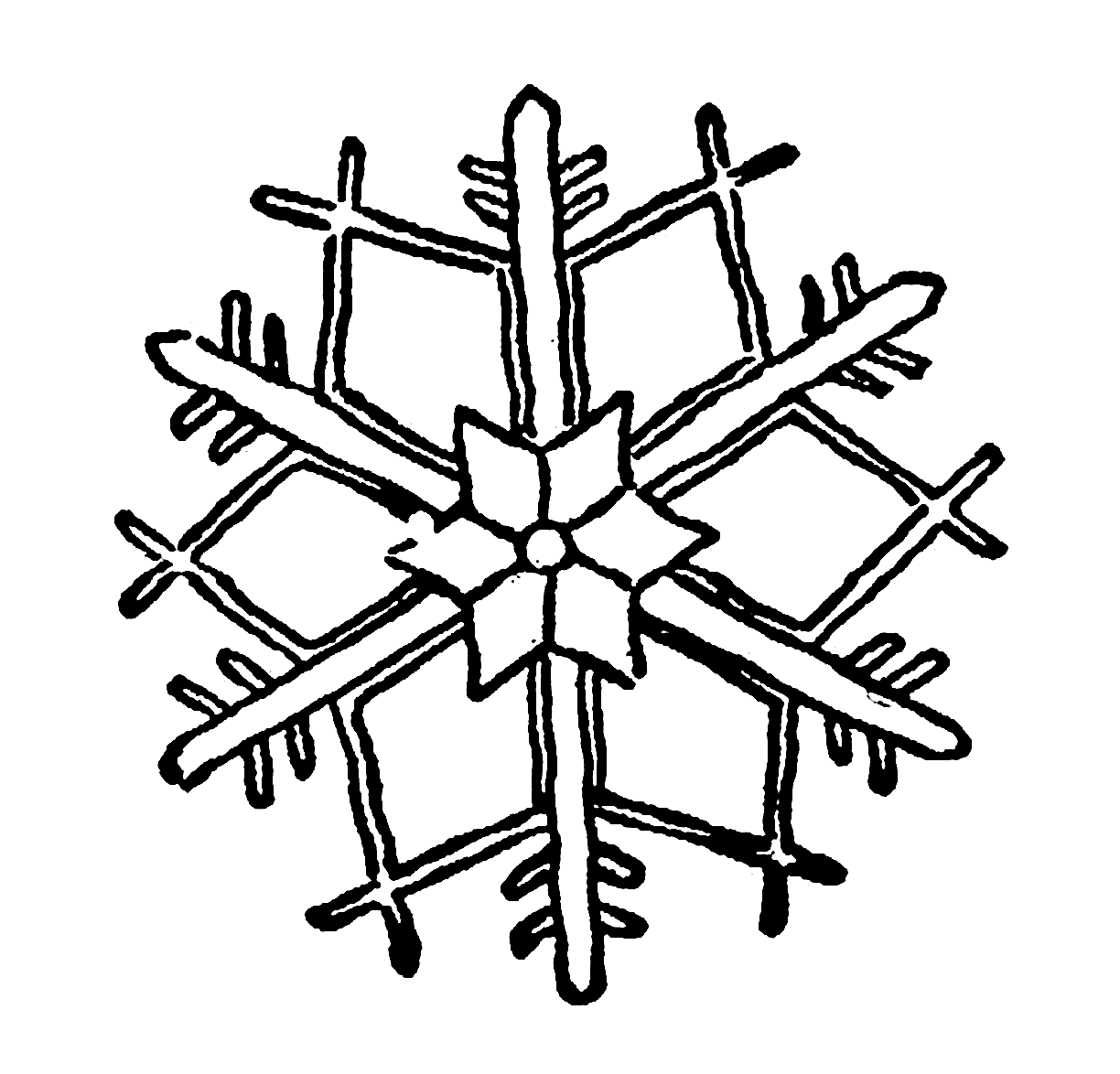 Digital Stamp Design Snowflake Digital Illustration Stock