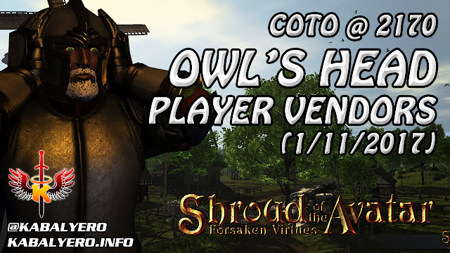 Shroud Of The Avatar Market Watch 💰 COTO @ 2170, Owl's Head Player Vendors (1/11/2017)