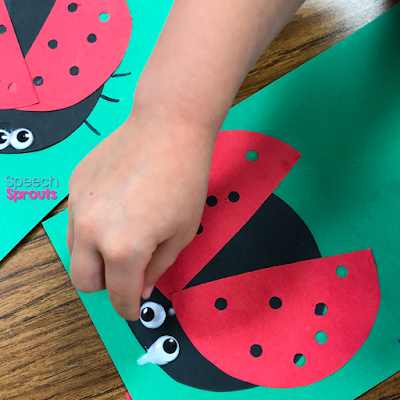 Glue wiggle eyes on this construction paper ladybug to make this adorable spring preschool craft. Read the post for ladybug storybook and song ideas too! www.speechsproutstherapy.com