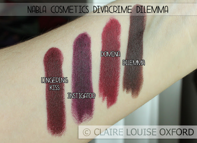 Nabla Cosmetics Divacrime Dilemma, swatches comparativi