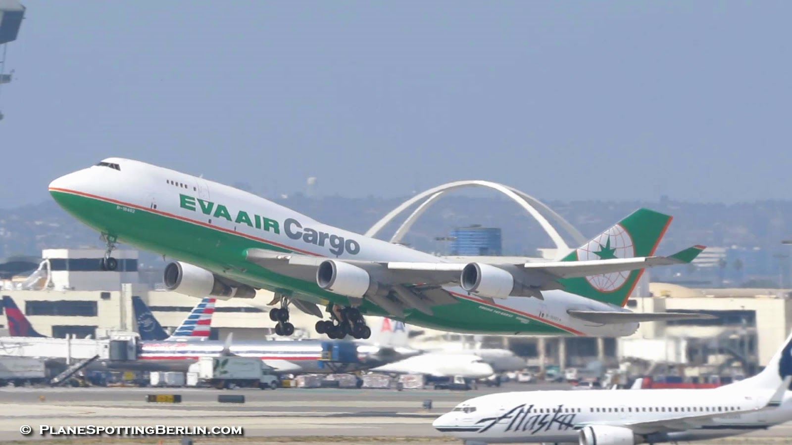Eva Air Cargo Boeing 747 400f B 16402 Takeoff From Los Angeles Intl Airport Lax