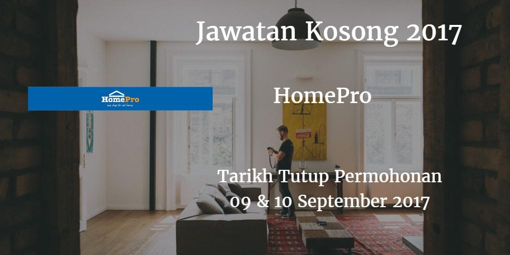 Jawatan Kosong HomePro 09 & 10 September 2017