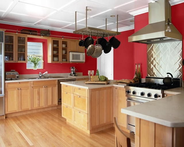 red kitchen walls with oak cabinets your home sing paint colors for a kitchen 9201