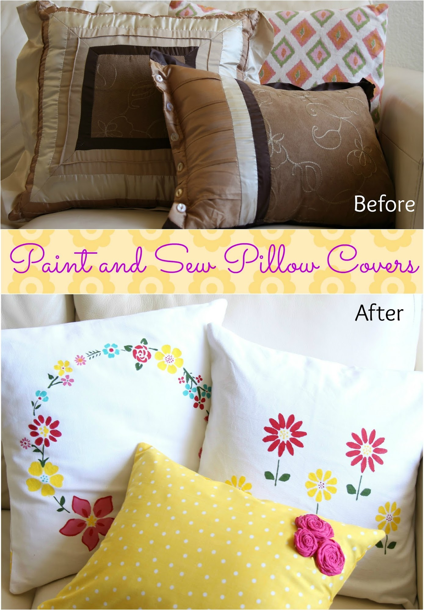 Let s make it lovely Paint and Sew Pillow Covers Tutorial
