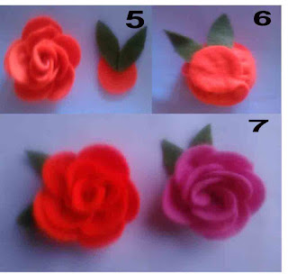 Tutorial bross bunga mawar cantik dari flanel part 2