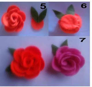 Tutorial bross bunga mawar cantik dari flanel part 2