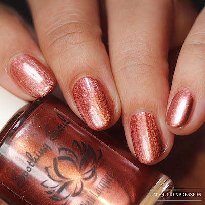 Nail polish swatch and review of Winter Rose. This is a rose gold metallic nail polish by Soothing Soul Nail Lacquer.