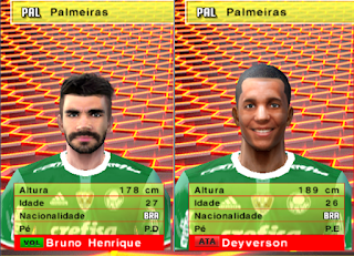 PES6|PES5|WE9 Face de Deyverson e Bruno Henrique do palmeiras db games