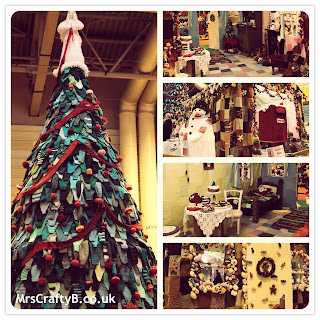 Giant Knitted Christmas Tree and Gingerbread House