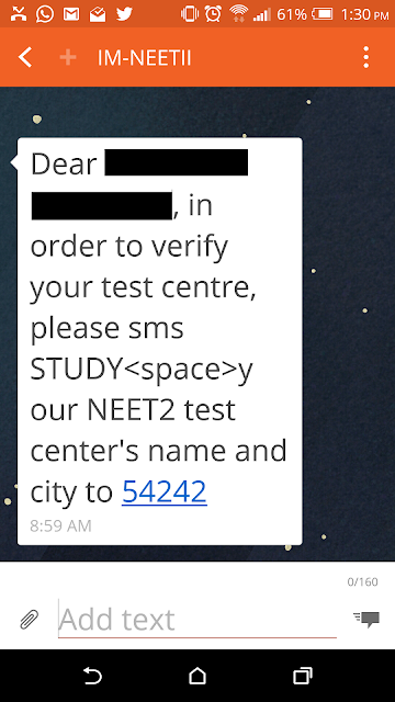 Fake SMS requesting you to verify NEET-II Test Center