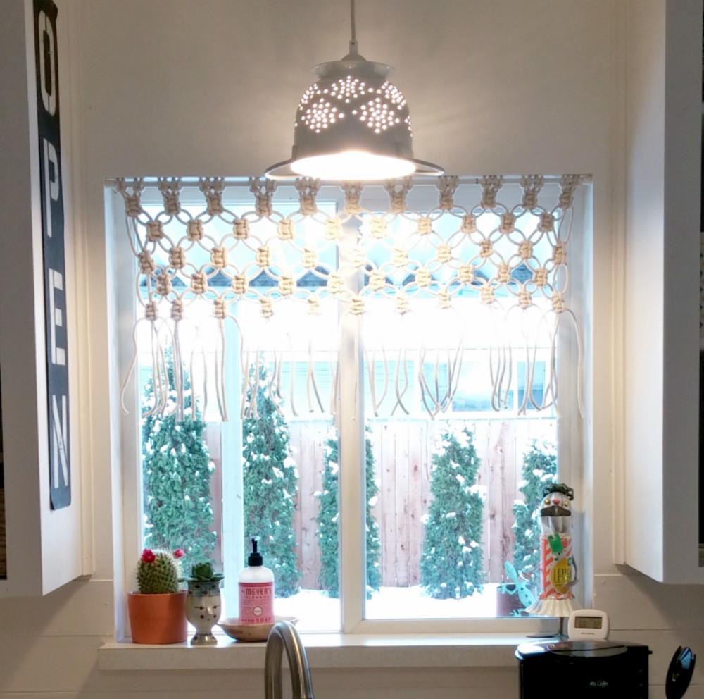 DIY Macrame Kitchen Curtain - Little Vintage Cottage