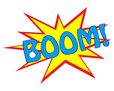 photo of free printable for a superhero party theme that says BOOM with a yellow and red pop background