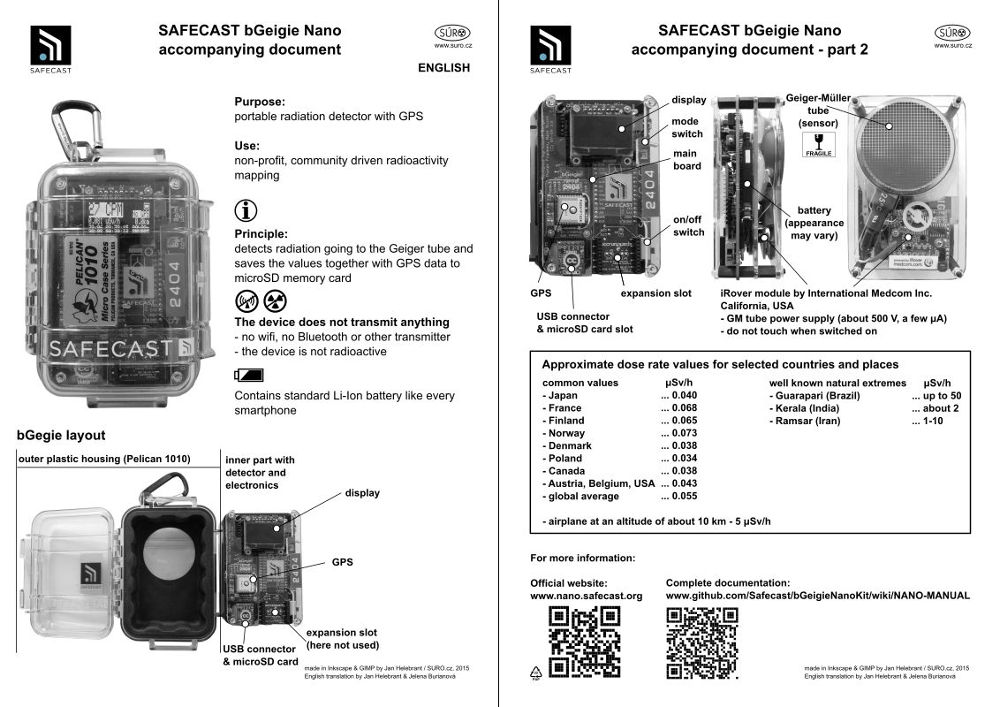 SAFECAST bGegie Nano accompanying document is designed to briefly explain  what bGeigie Nano is b26ce476800