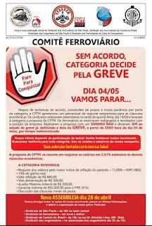 CPTM anuncia greve para dia 4 de maio