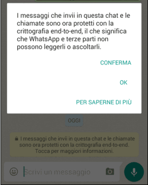 WhatsApp notifica chat crittografata