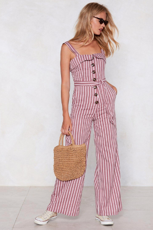 Nasty Gal Pink Striped Jumpsuit