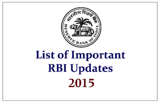 List of Important RBI Updates in 2015