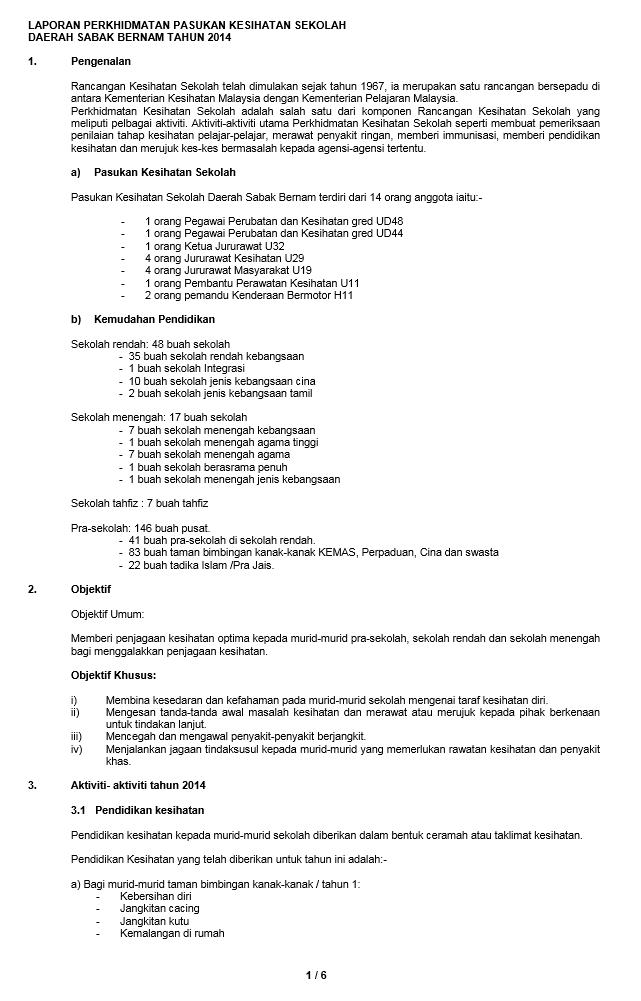 Laporan Tahunan Pejabat Kesihatan Daerah Sabak Bernam Laporan Tahunan 2014 Unit Kesihatan Sekolah Pkd Sabak Bernam
