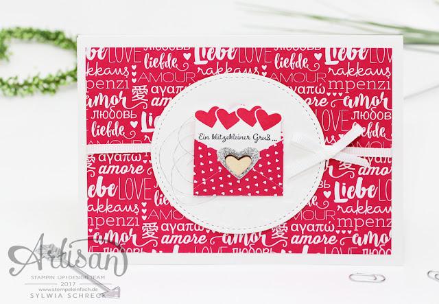 Valentinstag Karte mit stampin up Papier Liebe Gruesse