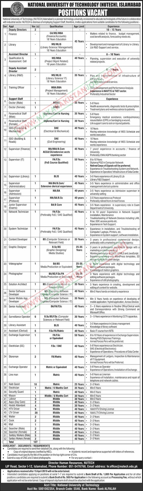 Nutech Jobs, National University Of Technology Jobs 2019 April