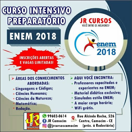 JR Cursos lança curso preparatório intensivo para o Enem 2018