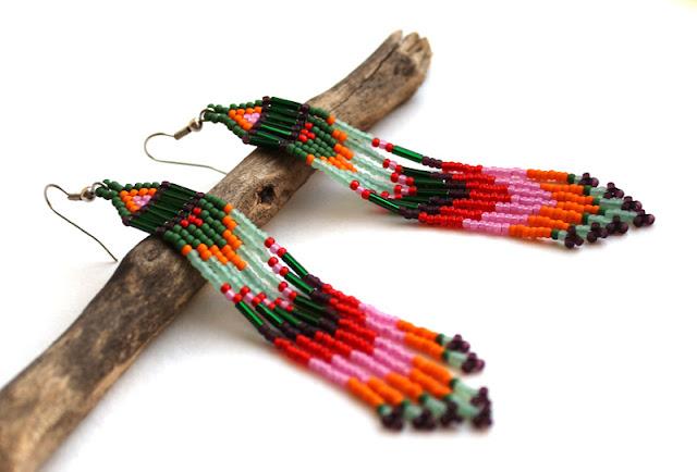 длинные серьги купить в интернет магазине украшения из бисера