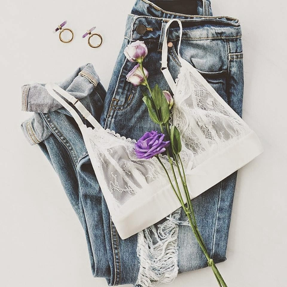 Daily inspiration Denim+Roses+Lingerie