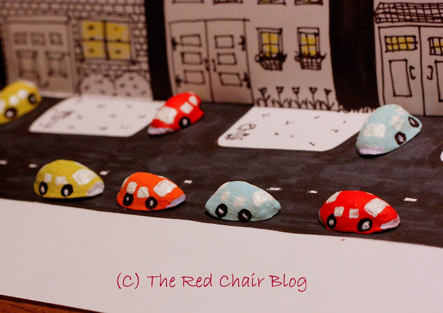 Painted pistachio shell toy cars from The Red Chair Blog