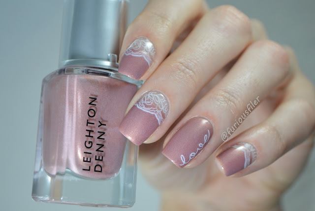 negative space lace nude stamping bridal wedding nails