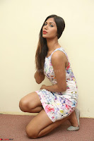 Nishi Ganda stunning cute in Flower Print short dress at Tick Tack Movie Press Meet March 2017 088.JPG