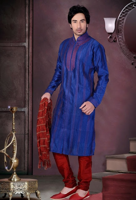 Blue & Maroon Art Silk Party Wear Eid special Kurta Pajama