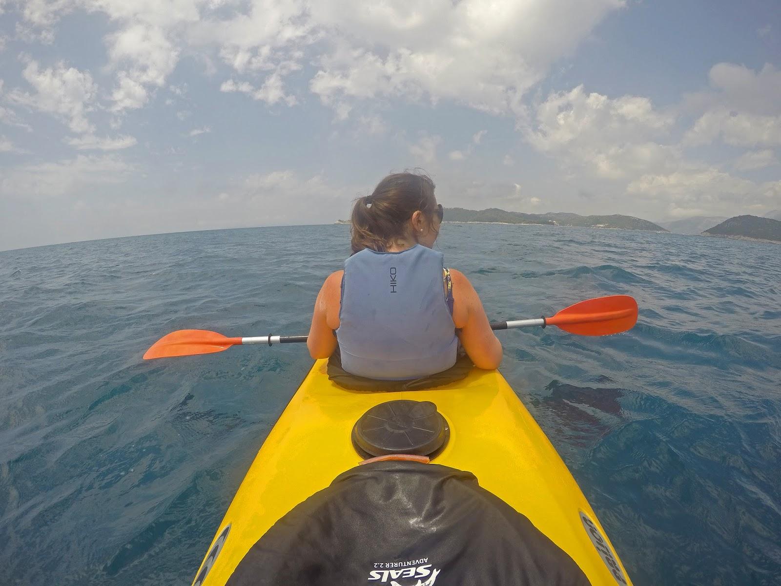 Girl Kayaking Elafiti Islands with Adriatic Kayak Tours