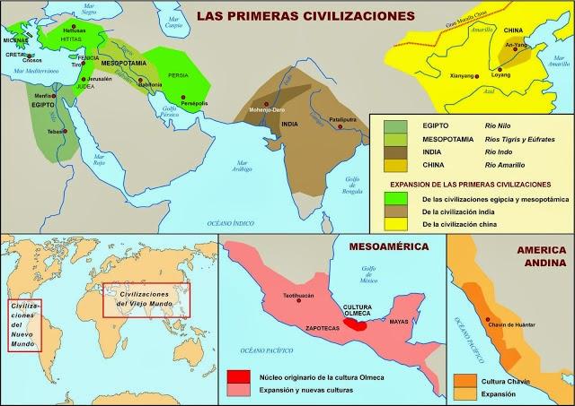Resultado de imagen de mapa primeras civilizaciones