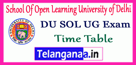 DU SOL School Of Open Learning University of Delhi UG 1st 2nd 3rd Year Time Table
