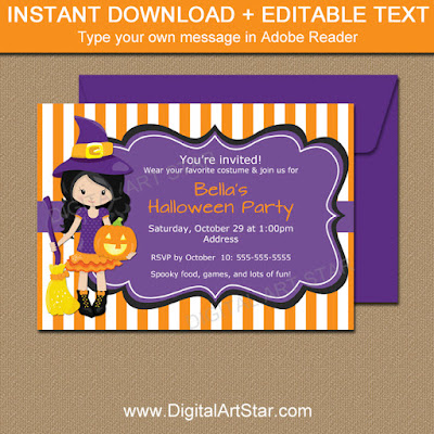 Halloween witch invitation template