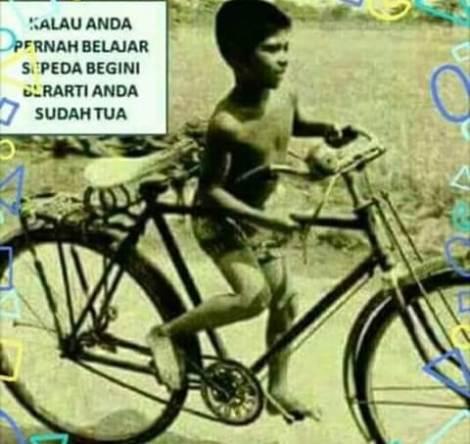 foto belajar sepeda anak generasi lama