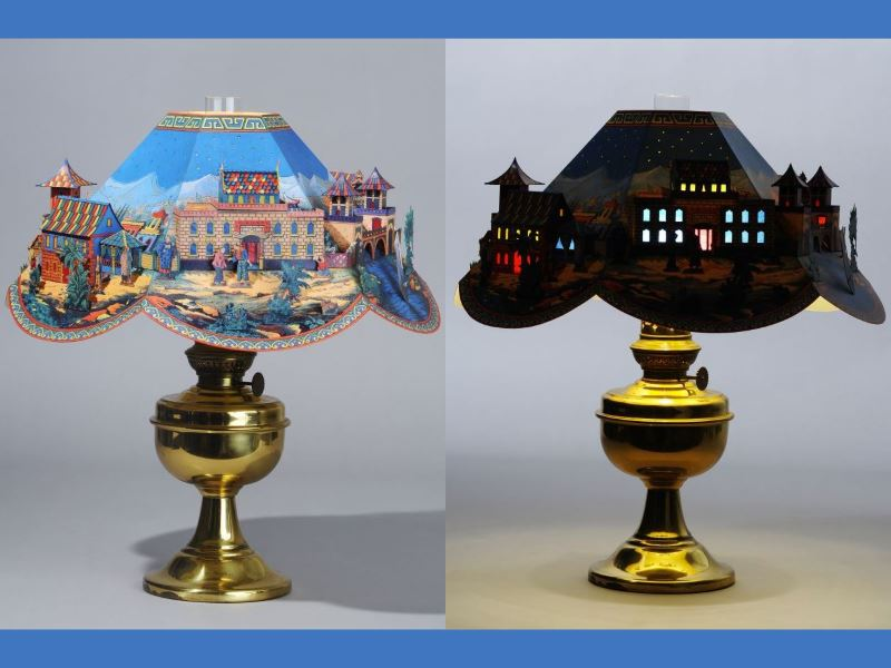 Vintage 3d papercraft diorama lampshade tektonten papercraft during the late nineteenth century and early twentieth century paper model publishers sometimes offered lampshade kits for kerosene lamps mozeypictures Choice Image