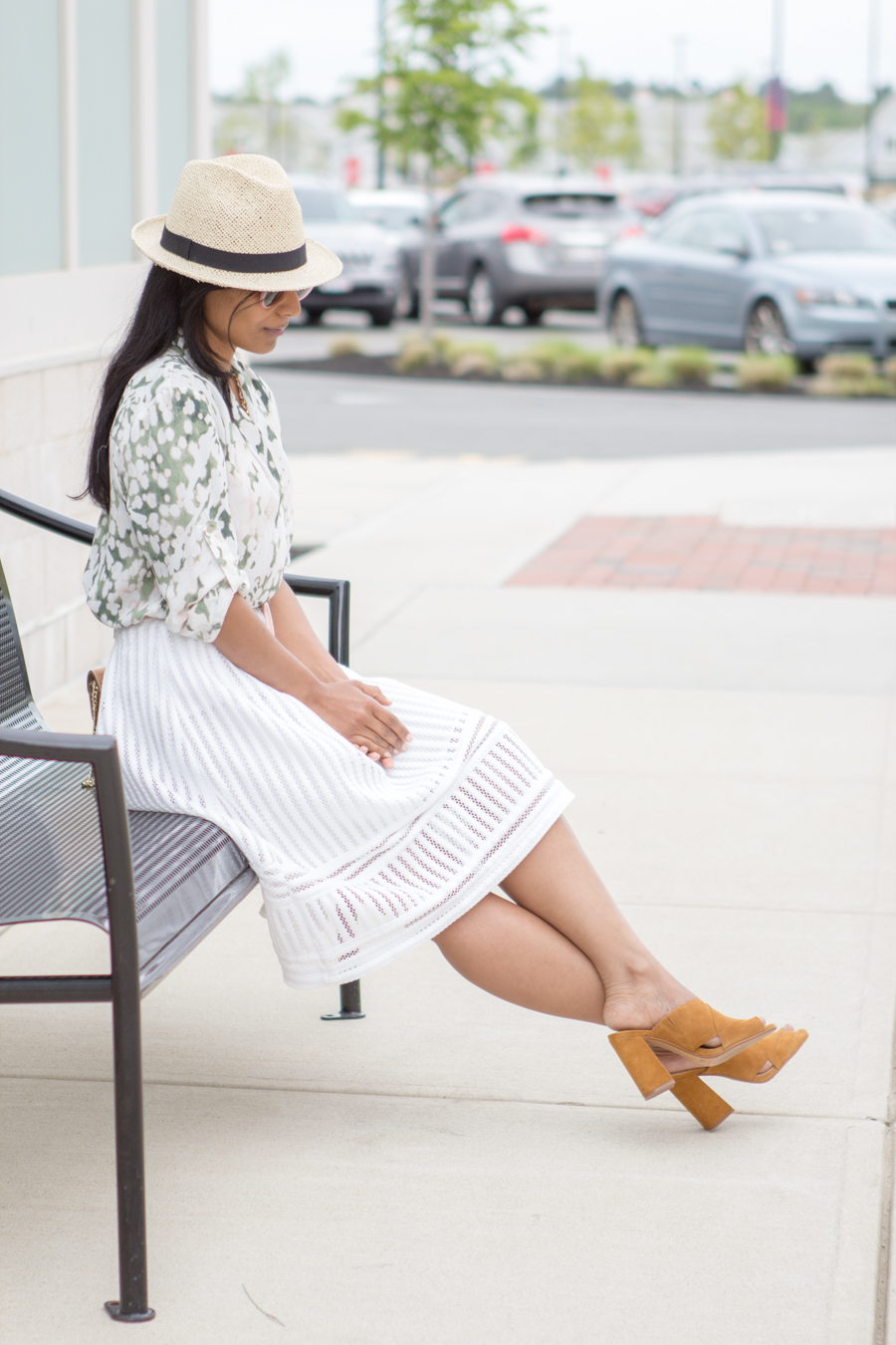 white skirt, midi skirt, look book, summer, garden print, patent leather blush, pink belt, skinny belt, camel shoulder bag, mules, straw hat, how tos, outfit formula, style blog, target style, vince camuto, h&m