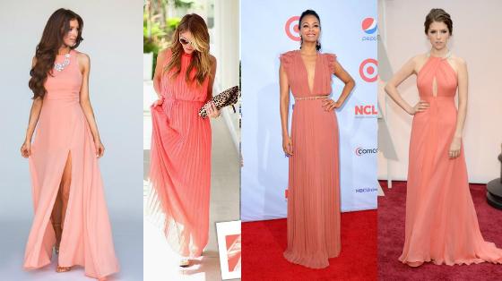vestidos cor salmao