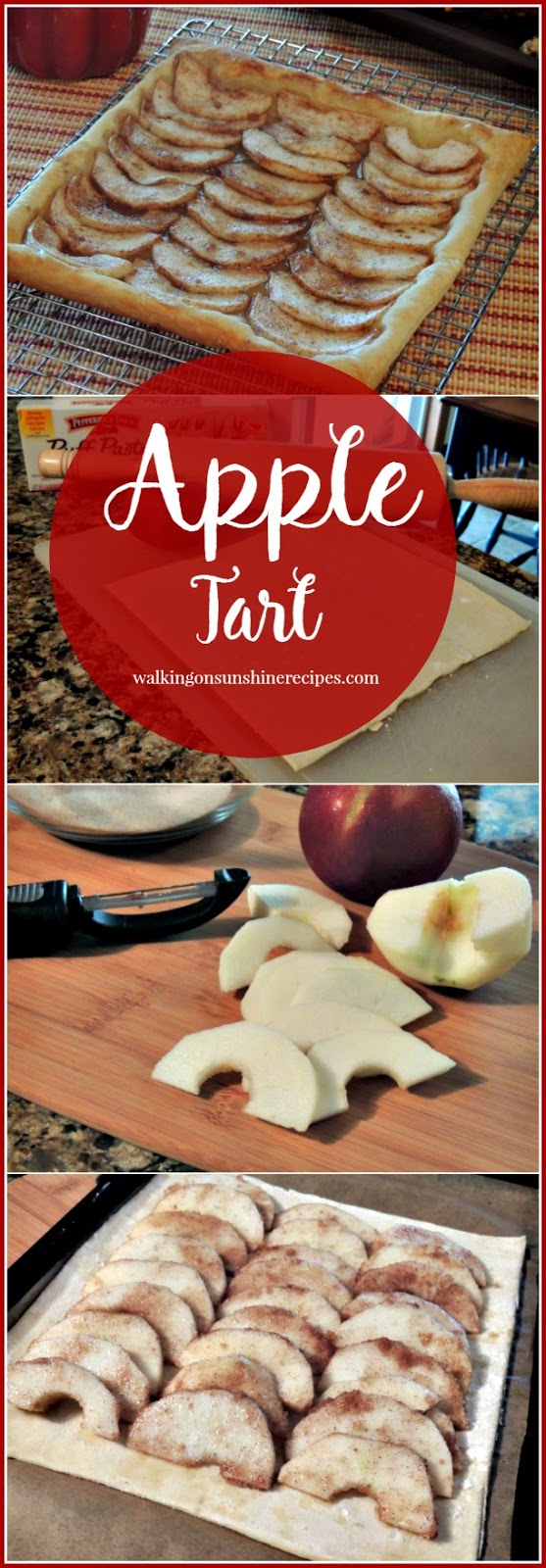 Puff Pastry Apple Tart with baking steps from Walking on Sunshine Recipes