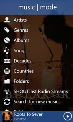 Music Mode Start Page
