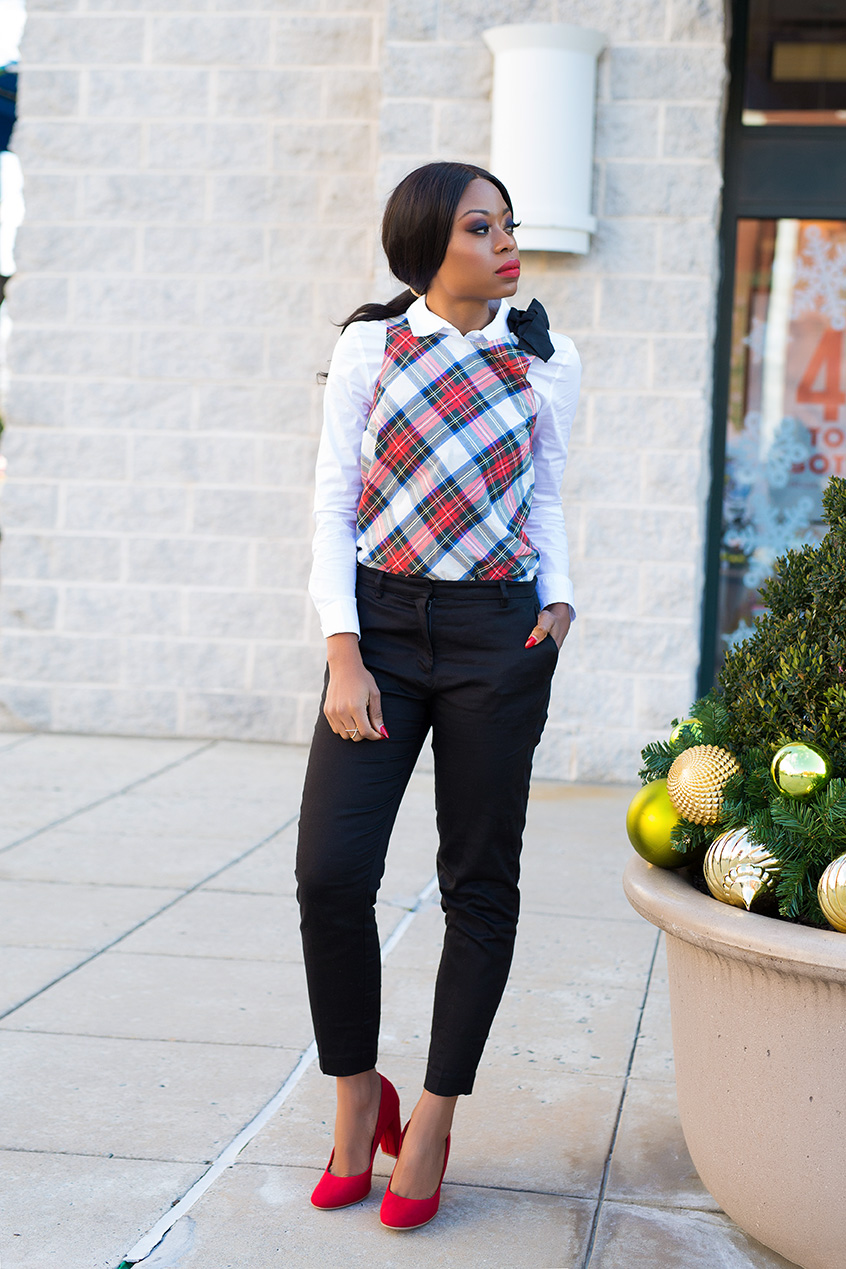 payless block heels and plaid, www.jadore-fashion.com