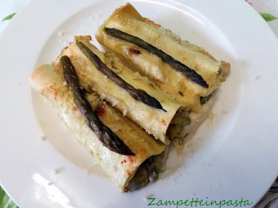 Cannelloni agli asparagi e Montasio - Ricetta con gli asparagi