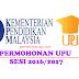 Permohonan UPU Sesi 2018/2019 IPTA/UA/Politeknik/ILKA