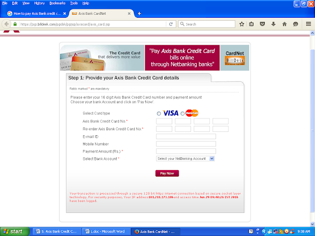 How to pay Axis Bank credit card bill payment Online, other bank account, NEFT, cheque, dd, cash