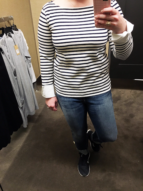 nordstrom anniversary sale 2017 fall fashion preview style pleione pleat inset french terry top peplum black and white stripes