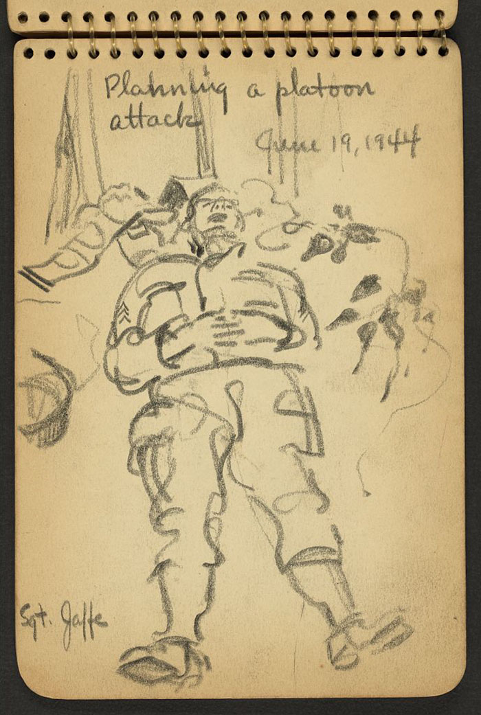 21-Year-Old WWII Soldier's Sketchbooks Show War Through The Eyes Of An Architect - Planning A Platoon Attack Sgt. Jaffe